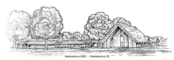 Wall Art - Drawing - Simpsonville Umc by Greg Joens