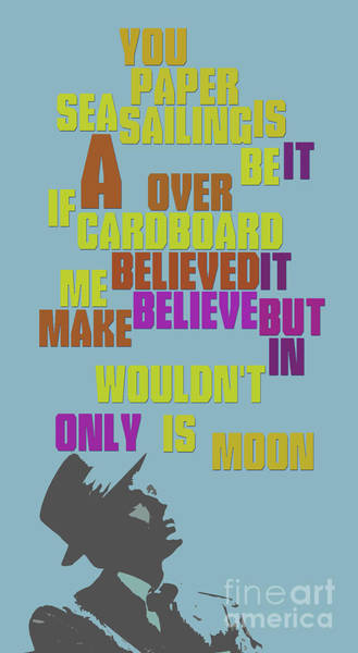 Song Lyrics Digital Art - Sinatra. It's Only A Paper Moon. Lyrics. Can You Recognize The Song? by Drawspots Illustrations