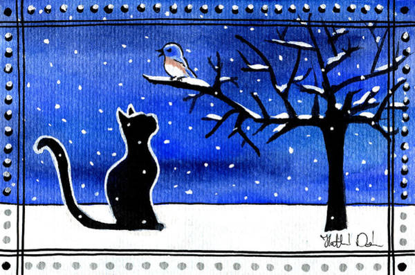 Painting - Sing For Me - Black Cat Card by Dora Hathazi Mendes