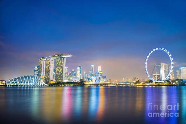 Blue Hour Photograph - Singapore Blue Hour by Delphimages Photo Creations