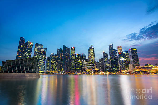 Blue Hour Photograph - Singapore By Night by Delphimages Photo Creations