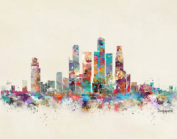 Watercolour Landscape Painting - Singapore City Skyline by Bri Buckley