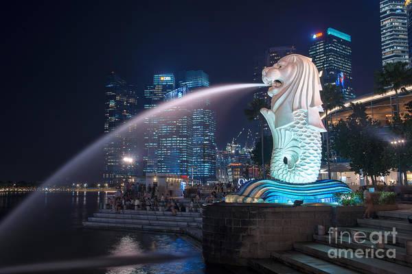 Lion Statue Photograph - Singapore Merlion by Delphimages Photo Creations