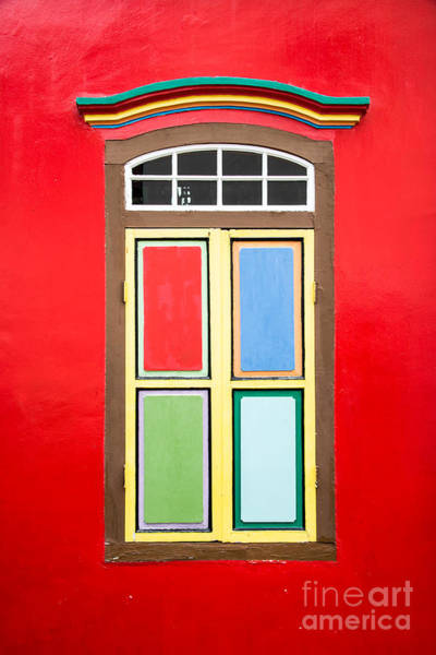 Wall Art - Photograph - Singapore Red Window by Delphimages Photo Creations