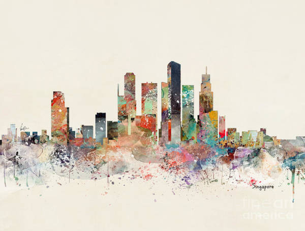 Watercolour Landscape Painting - Singapore Skyline by Bri Buckley