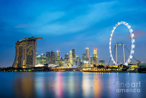 Blue Hour Photograph - Singapore Skyline by Delphimages Photo Creations