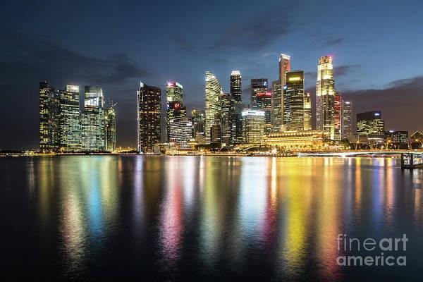 Photograph - Singapore Skyline Night by Didier Marti