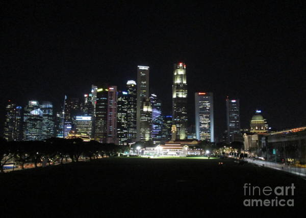 Wall Art - Photograph - Singapore Skyline Night by Randall Weidner
