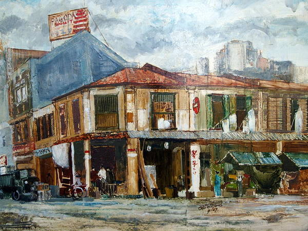 Painting - Singapore Street 1967 by E Colin Williams ARCA