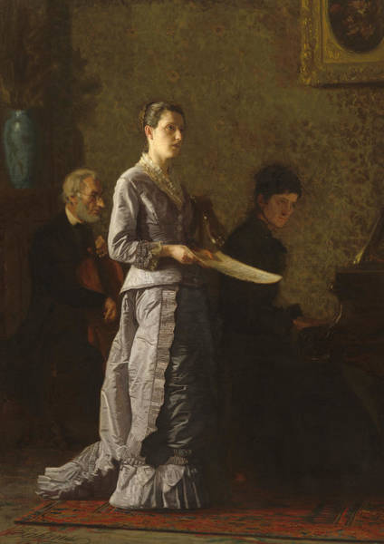 Piano Player Painting - Singing A Pathetic Song by Thomas Cowperthwait Eakins