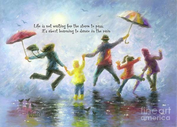 Wall Art - Painting - Singing In The Rain Family by Vickie Wade