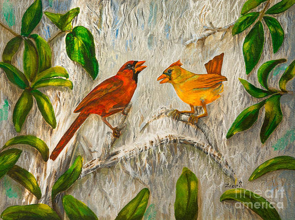 Bunting Painting - Singing Of Love by Zina Stromberg