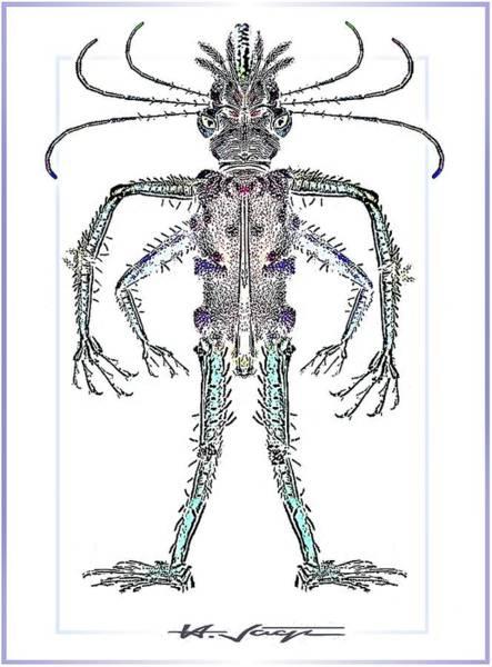 Drawing - Single  Alien by Hartmut Jager