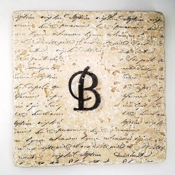 Mixed Media - Single B Monogram Tile Coaster With Script by Angela Rath