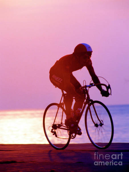 Photograph - Single Bike Rider Chicago Lake Front by Tom Jelen