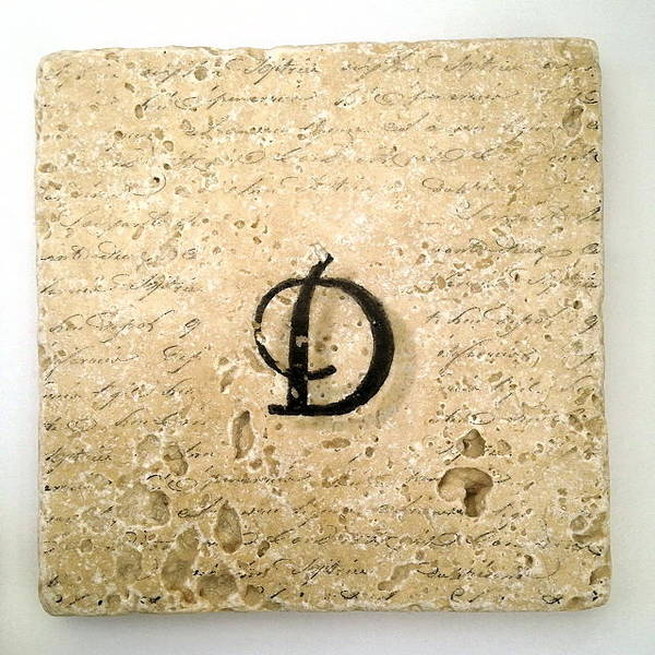 Mixed Media - Single D Monogram Tile Coaster With Script by Angela Rath
