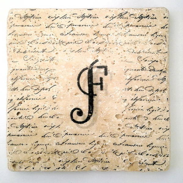Mixed Media - Single F Monogram Tile Coaster With Script by Angela Rath