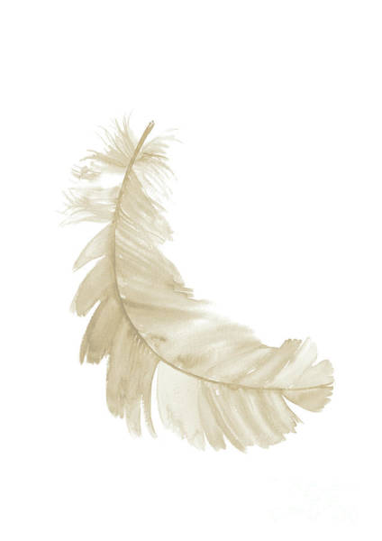 Subtle Painting - Single Gold Feather Falling Right by Joanna Szmerdt
