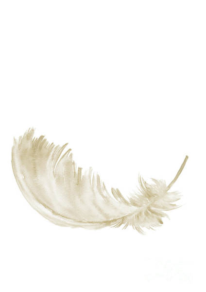 Subtle Painting - Single Gold Feather Lying Upright by Joanna Szmerdt
