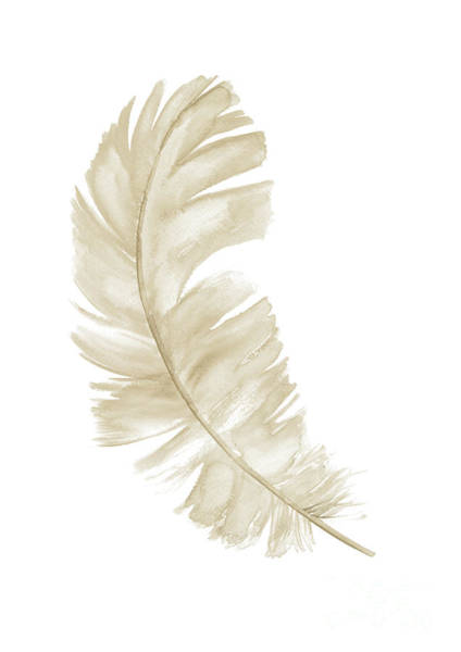 Subtle Painting - Single Gold Feather, Upright, Leaning Left by Joanna Szmerdt