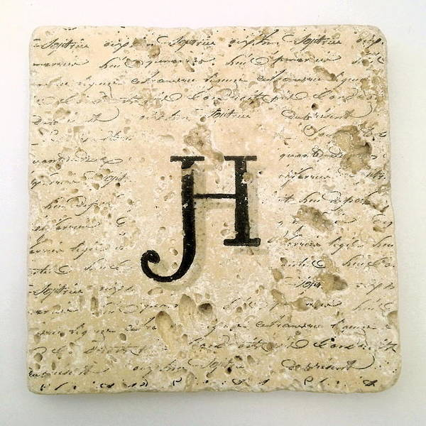 Mixed Media - Single H Monogram Tile Coaster With Script by Angela Rath