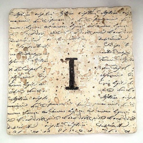 Mixed Media - Single I Monogram Tile Coaster With Script by Angela Rath
