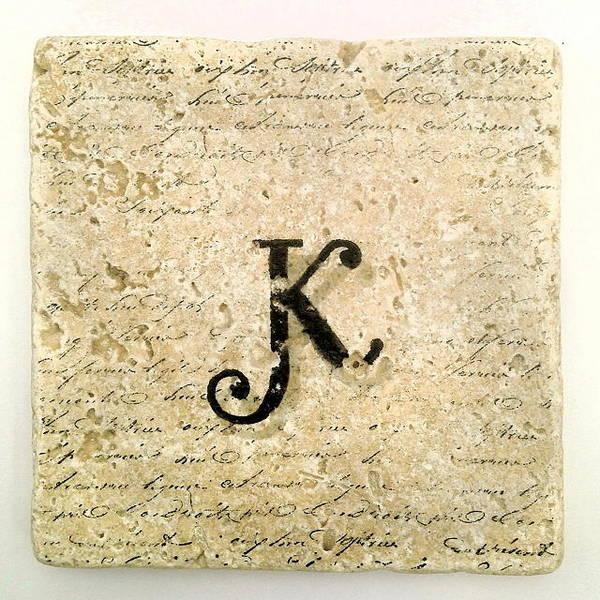 Mixed Media - Single K Monogram Tile Coaster With Script by Angela Rath
