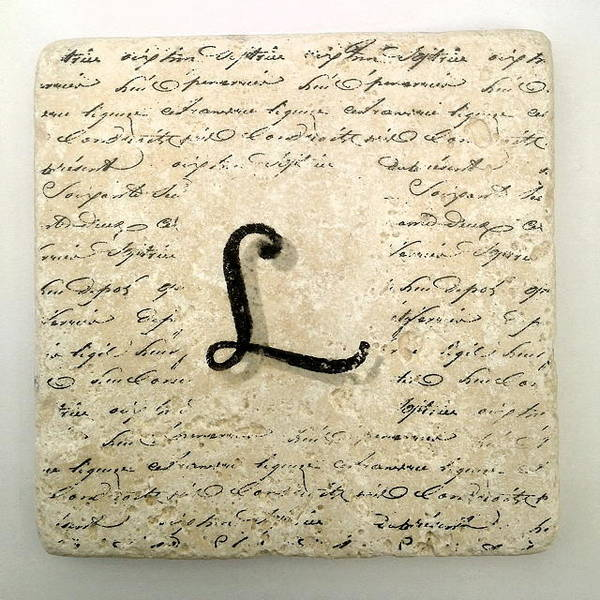 Mixed Media - Single L Monogram Tile Coaster With Script by Angela Rath