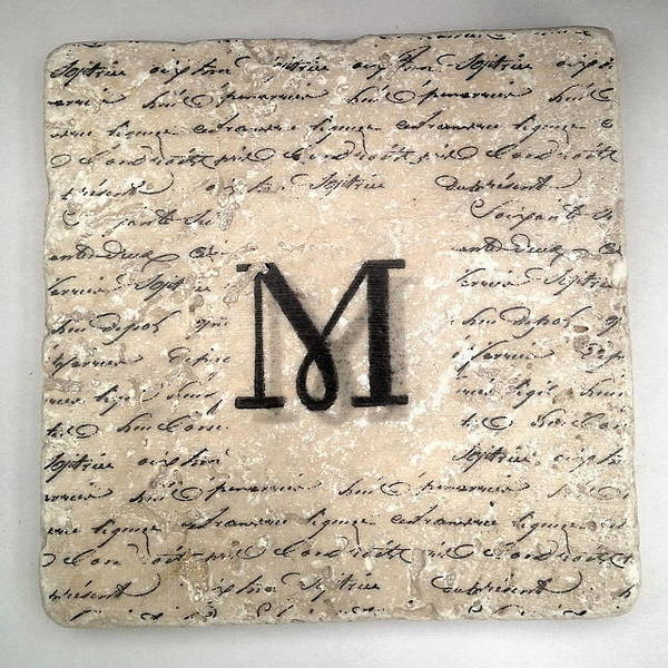 Mixed Media - Single M Monogram Tile Coaster With Script by Angela Rath