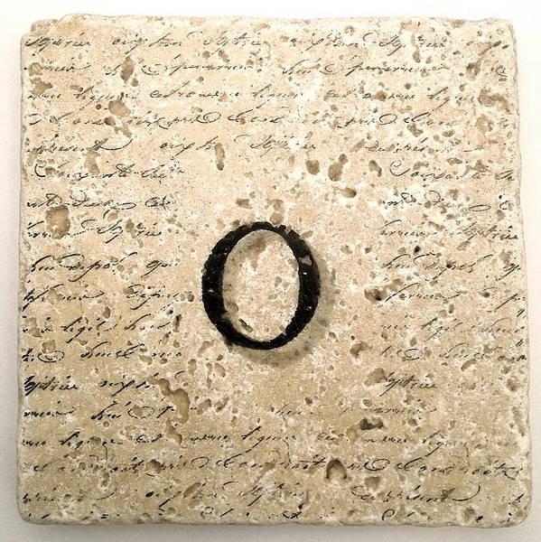 Mixed Media - Single O Monogram Tile Coaster With Script by Angela Rath