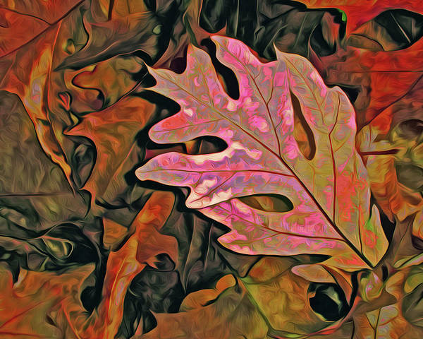 Mixed Media - Single Oak Leaf On Leaves Red And Green by Lynda Lehmann