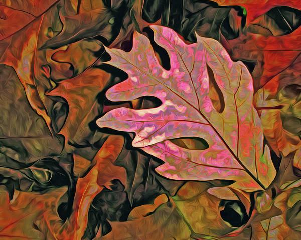 Mixed Media - Single Oak Leaf On Leaves Red And Green by Lynda Lehmann