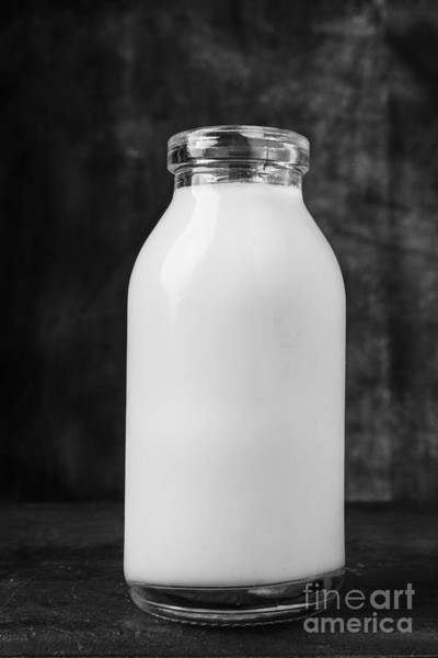 Photograph - Single Old Fashioned Milk Bottle by Edward Fielding