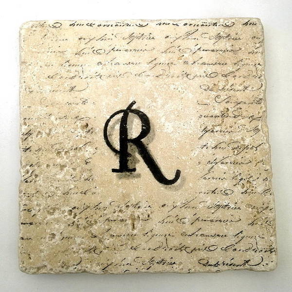 Mixed Media - Single R Monogram Tile Coaster With Script by Angela Rath