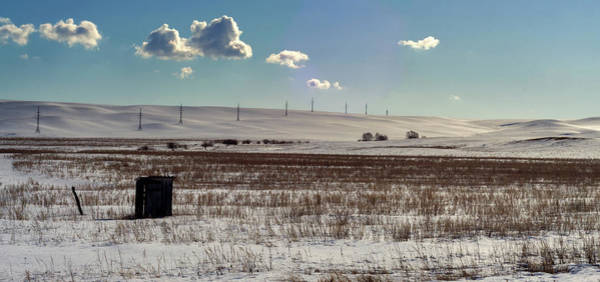 Photograph - Single Solitary Hut And Winter Landscape And Pylons by John Williams