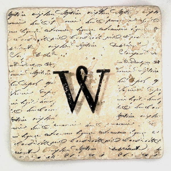 Mixed Media - Single W Monogram Tile Coaster With Script by Angela Rath