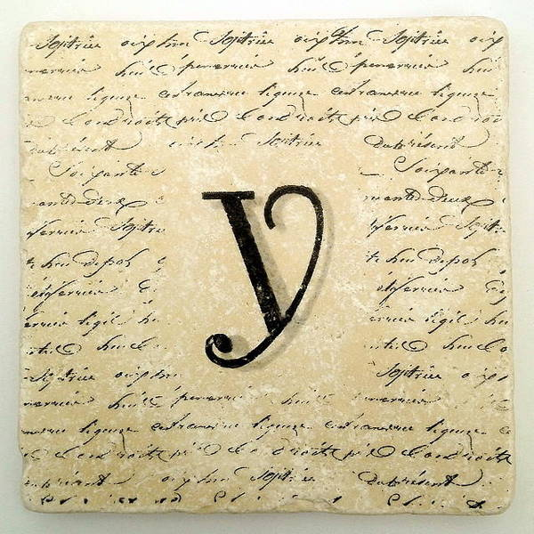 Mixed Media - Single Y Monogram Tile Coaster With Script by Angela Rath