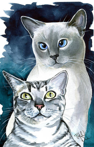 Crazy Cat Painting - Sini And Nimbus - Cat Portraits by Dora Hathazi Mendes