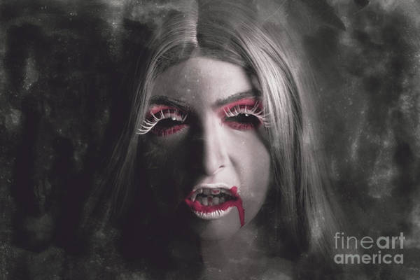 Wall Art - Photograph - Sinister Portrait Of Scary Vampire Woman by Jorgo Photography - Wall Art Gallery