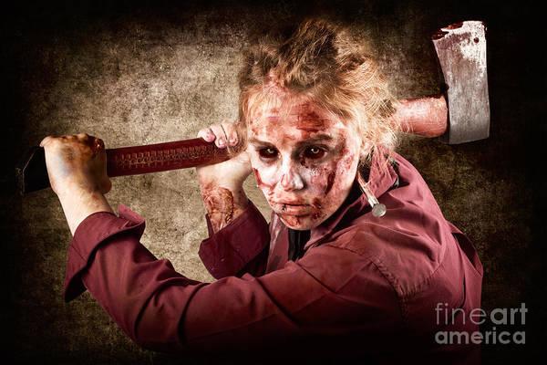 Wall Art - Photograph - Sinister Zombie Axe Murderer. A Grunge Death by Jorgo Photography - Wall Art Gallery