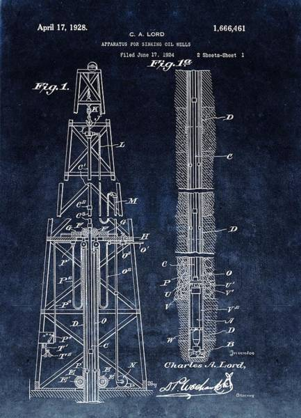 Petroleum Drawing - Sinking Oil Well Patent by Dan Sproul
