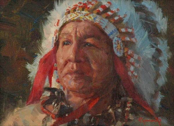 Lakota Painting - Sioux Chief by Jim Clements