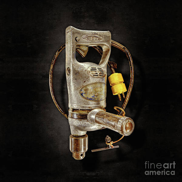 Wall Art - Photograph - Sioux Drill Motor 1/2 Inch On Black by YoPedro