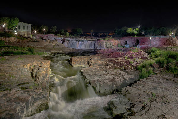 Photograph - Sioux Falls At Night by Susan Rissi Tregoning