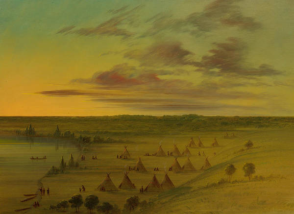 Indian Camp Painting - Sioux Village - Lac Du Cygne by Mountain Dreams