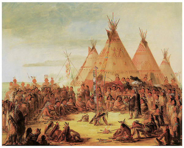 Indian Camp Painting - Sioux War Council by George Catlin
