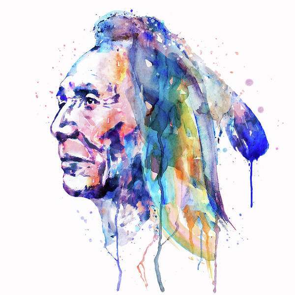 Sioux Wall Art - Painting - Sioux Warrior Watercolor by Marian Voicu