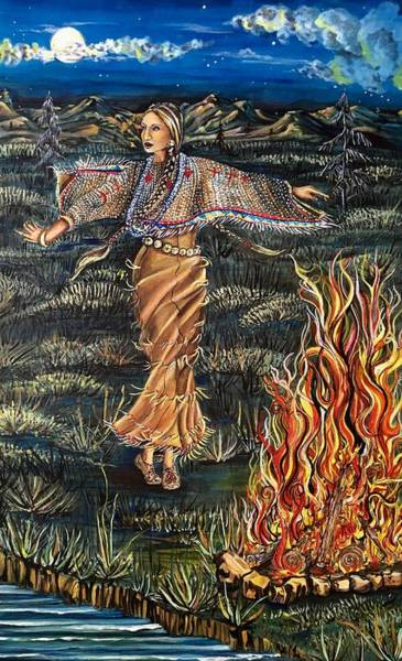 Mixed Media - Sioux Woman Dancing by Mastiff Studios