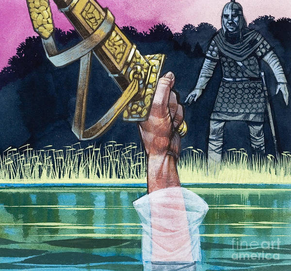 Wall Art - Painting - Sir Bedivere Returns Excalibur To The Lady Of The Lake by Richard Hook
