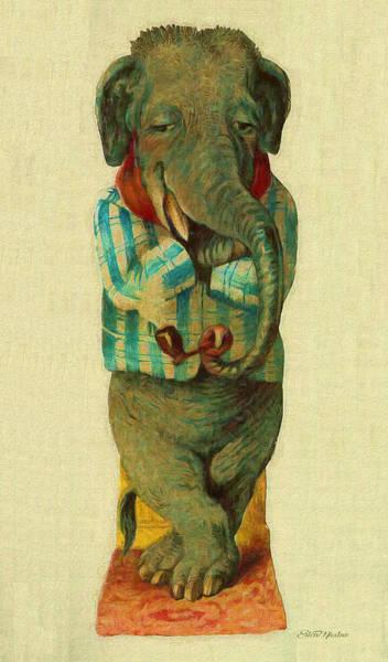Painting - Sir Elephant - Vintage Animal by Ericamaxine Price